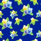 Pansies auf blauem Hintergrund 2 Lizenzfreie Stockfotografie