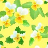 Pansies auf gelbem Hintergrund Stockbild