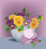 Pansies in a pot Stock Photo