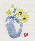 Pansies in a pot. Watercolor in blue and yellow Stock Images