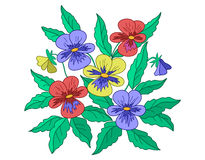 Pansies, red, blue, yellow Stock Photos