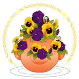 Pansies in a Strawberry Jar. Spring garden of deep purple and golden pansies growing from the top and sides of an old fashioned clay strawberry pot. EPS8 Royalty Free Stock Photo