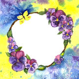 Pansies watercolor.wreath of flowers watercolor Stock Photography