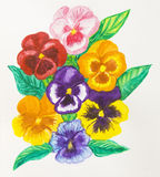 Pansies, watercolour painting Royalty Free Stock Photo