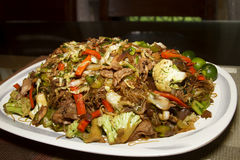Pansit or rice noodle. Fried with vegetables- home made pancit Royalty Free Stock Image