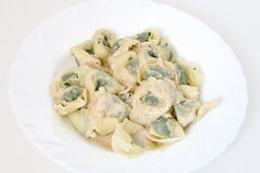 Pansotti with walnut sauce 2 Stock Photos