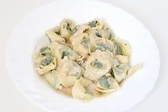 Pansotti with walnut sauce 2 Stock Photos