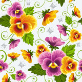 Pansy. Gentle floral seamless background with pansy. Drawn without gradients Royalty Free Stock Image