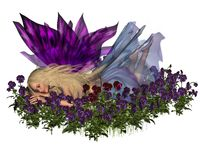 Pansy Fairy. Digital render of a cute blonde fairy surrounded by blue and purple pansies Royalty Free Stock Photos