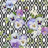 Pansy Flowers Geometric Background Lizenzfreies Stockbild