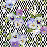 Pansy Flowers Geometric Background Royalty Free Stock Image