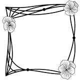 Pansy frame. Vector frame with pansies in black and white colors Stock Images