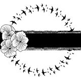 Pansy and swallows. Vector banner with pansies and swallows in black and white colors Royalty Free Stock Photo