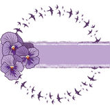 Pansy and swallows. Vector banner with pansies and swallows  (EPS 10 Stock Photo
