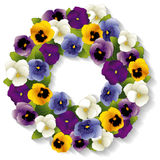 Pansy Wreath. Spring Pansy wreath with Viola flowers in purple, lavender, white, blue, gold isolated on white background. EPS8 compatible Royalty Free Stock Photo