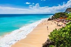 Pantai drömmarnas landstrand södra Kuta, Bali Arkivfoto