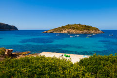 Pantaleu Island in Gemec Cove, San Telmo, Mallorca Royalty Free Stock Image