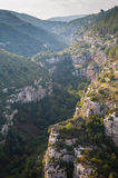 Pantalica's canyons. One of the canyons in the archeological site of Pantalica in Sicily, view from above stock photo