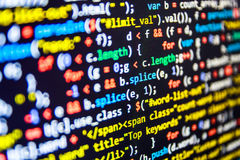 Pantalla abstracta programada del código del desarrollador de software imagen de archivo