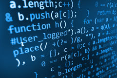 Pantalla abstracta programada del código del desarrollador de software Foto de archivo libre de regalías