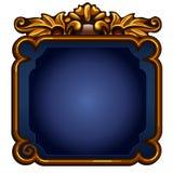Pantalla azul del juego con el marco de oro con el espacio de la copia Foto de archivo libre de regalías