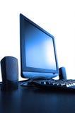 pantalla Azul-entonada del LCD con speackers Imagen de archivo