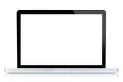 Pantalla blanca del ordenador portátil aislada en blanco foto de archivo libre de regalías