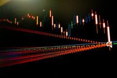 Pantalla comercial de las divisas con órdenes cerradas de las cartas y de los gráficos imagen de archivo libre de regalías