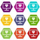 Pantalla con el hexahedron determinado del color del icono del diamante Imagen de archivo libre de regalías