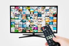 Pantalla con pantalla grande del televisor de alta definición con la galería video Imagen de archivo libre de regalías