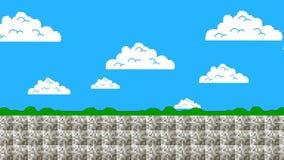 Pantalla de 8 bits vieja de los gráficos de Arcade Game Level que se mueve adelante