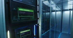 Pantalla de clave del ordenador en un centro de datos moderno almacen de metraje de vídeo