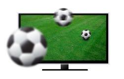 pantalla de 3d TV con fútbol Fotografía de archivo libre de regalías
