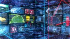 Pantalla de Digitaces de los datos del ordenador de interfaz de la tecnología stock de ilustración