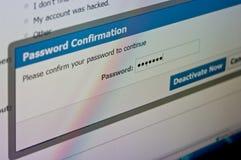 Pantalla de la desactivación de la cuenta de Facebook, medio social imagenes de archivo