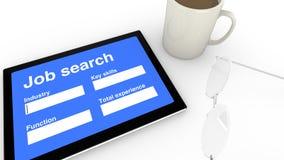 Pantalla de la entrada de la búsqueda de trabajo Foto de archivo libre de regalías