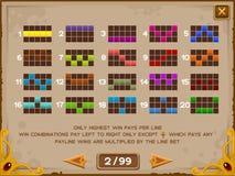 Pantalla de la información para el juego de las ranuras Imagen de archivo