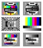 Pantalla de la prueba de seis televisiones Fotos de archivo libres de regalías
