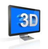 pantalla de la televisión 3D con el texto 3D Fotografía de archivo libre de regalías
