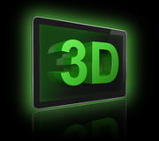 pantalla de la televisión 3D con el texto 3D Fotos de archivo