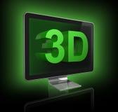 pantalla de la televisión 3D con el texto 3D Imagen de archivo libre de regalías