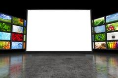 Pantalla de la TV con imágenes Imagen de archivo libre de regalías