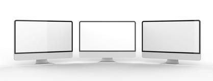 Pantalla de monitor en blanco moderna en el fondo blanco enfermedad 3d Imágenes de archivo libres de regalías