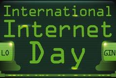 Pantalla de ordenador con el mensaje del saludo que conmemora el día de Internet, ejemplo del vector stock de ilustración