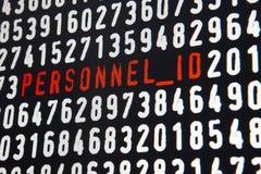 Pantalla de ordenador con el texto de la identificación de los personales en fondo negro fotografía de archivo