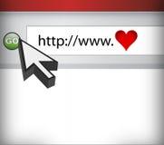 Pantalla de ordenador, concepto de amor en Cyberspace ilustración del vector