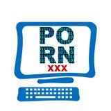Pantalla de ordenador de la pornografía Imagen de archivo libre de regalías