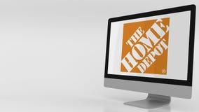 Pantalla de ordenador moderna con el logotipo de Home Depot Representación editorial 3D Fotos de archivo libres de regalías