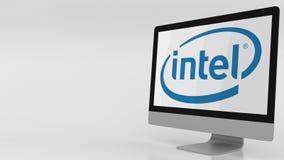 Pantalla de ordenador moderna con el logotipo de Intel Representación editorial 3D stock de ilustración