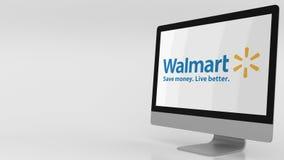 Pantalla de ordenador moderna con el logotipo de Walmart clip del editorial 4K almacen de video